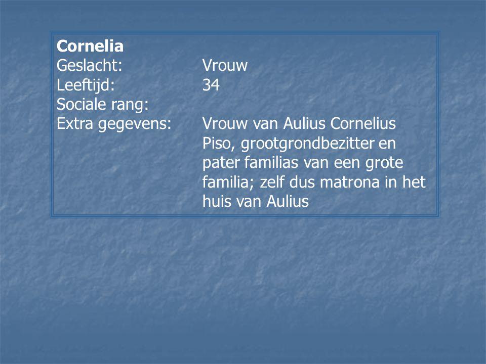 Cornelia Geslacht: Vrouw. Leeftijd: 34. Sociale rang: