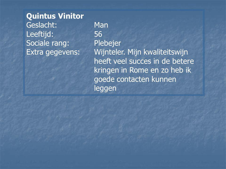 Quintus Vinitor Geslacht: Man. Leeftijd: 56. Sociale rang: Plebejer.