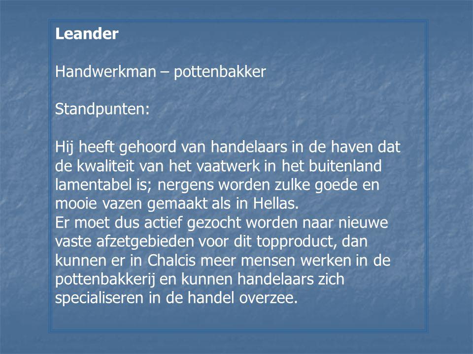 Leander Handwerkman – pottenbakker. Standpunten:
