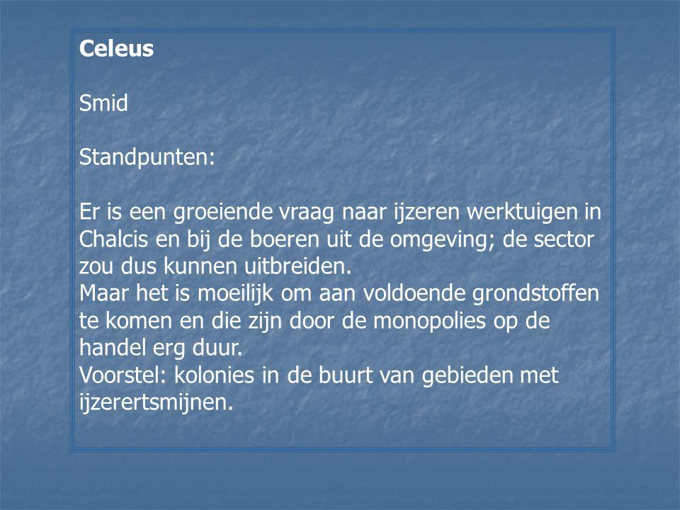 Celeus Smid. Standpunten: