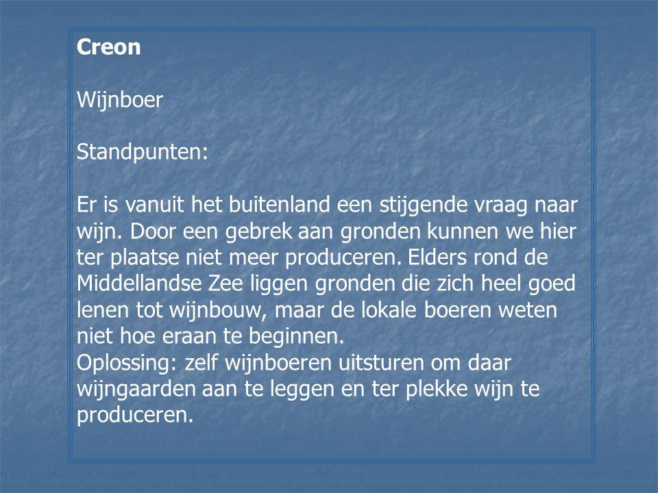 Creon Wijnboer. Standpunten: