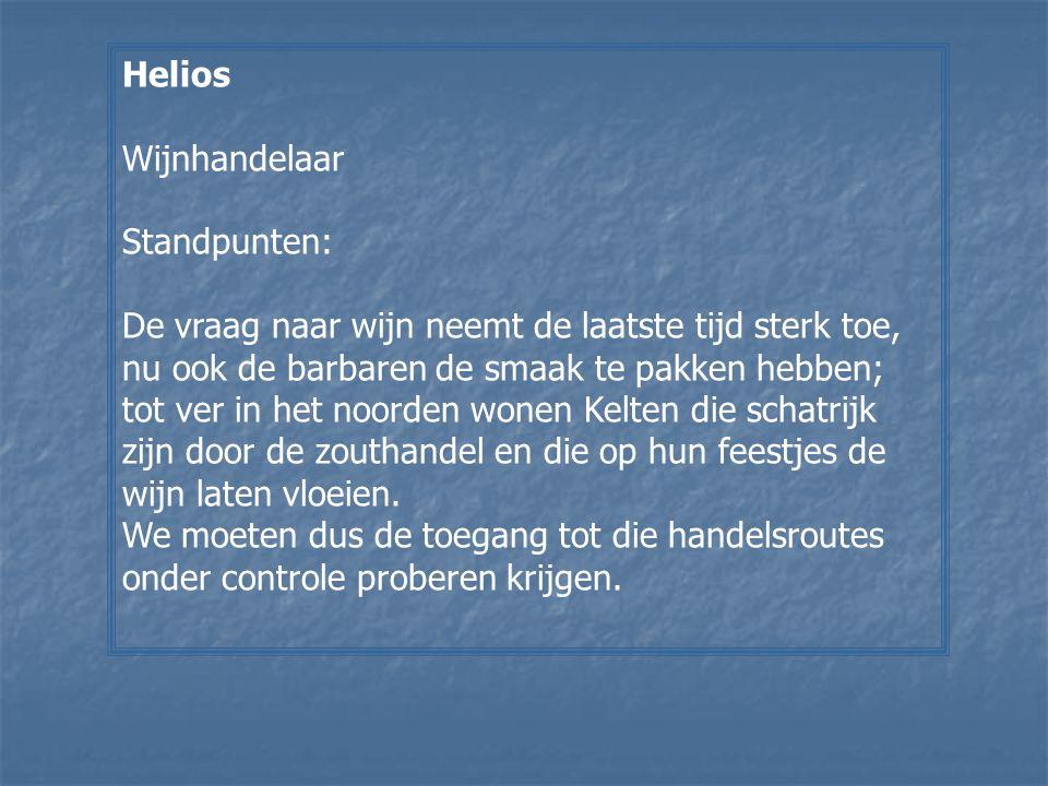 Helios Wijnhandelaar. Standpunten: