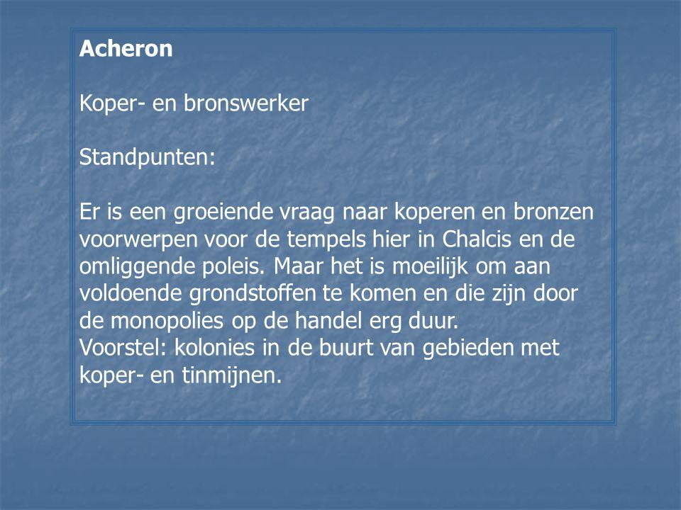 Acheron Koper- en bronswerker. Standpunten: