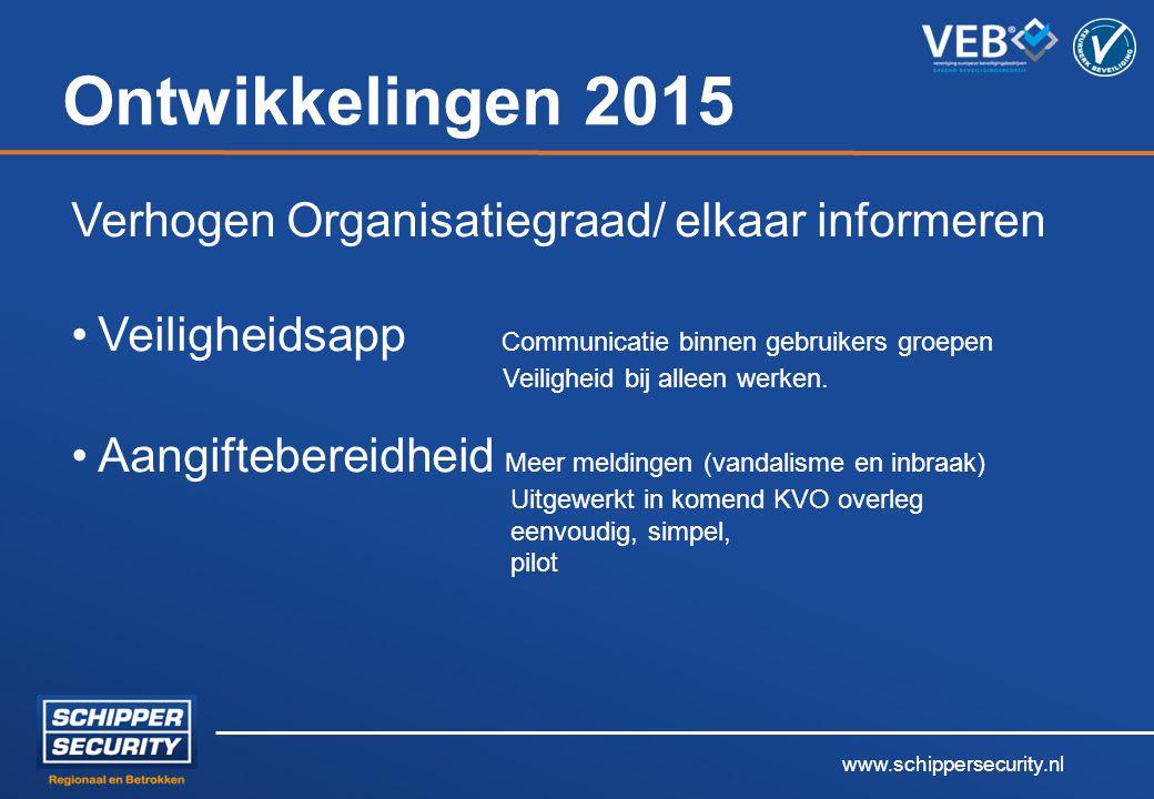 Ontwikkelingen 2015 Verhogen Organisatiegraad/ elkaar informeren