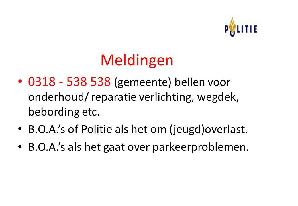 Meldingen 0318 - 538 538 (gemeente) bellen voor onderhoud/ reparatie verlichting, wegdek, bebording etc.