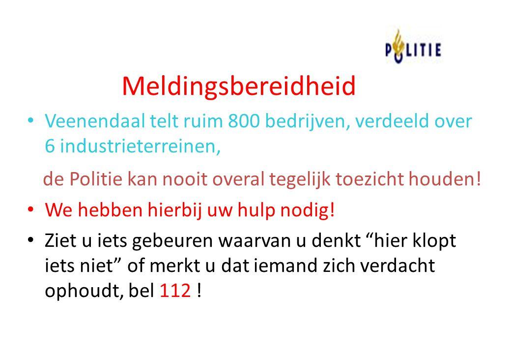 Meldingsbereidheid Veenendaal telt ruim 800 bedrijven, verdeeld over 6 industrieterreinen, de Politie kan nooit overal tegelijk toezicht houden!