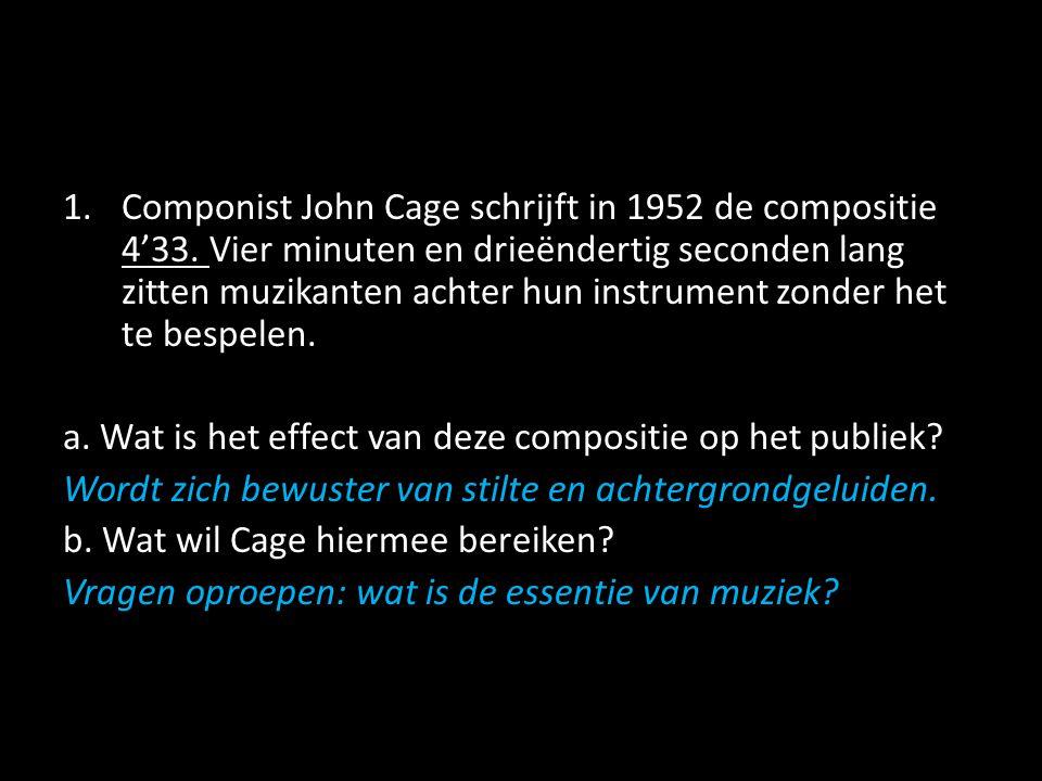 Componist John Cage schrijft in 1952 de compositie 4'33