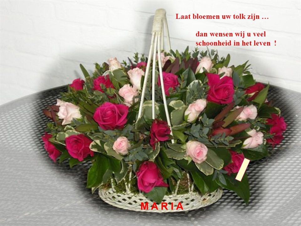 M Laat bloemen uw tolk zijn … dan wensen wij u veel