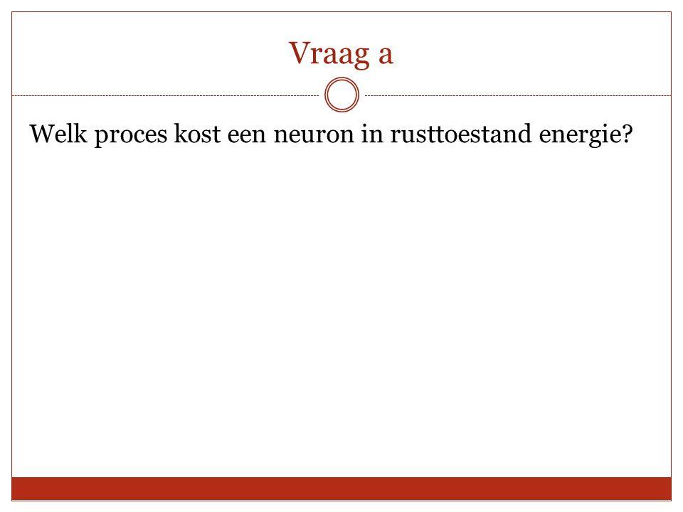 Vraag a Welk proces kost een neuron in rusttoestand energie