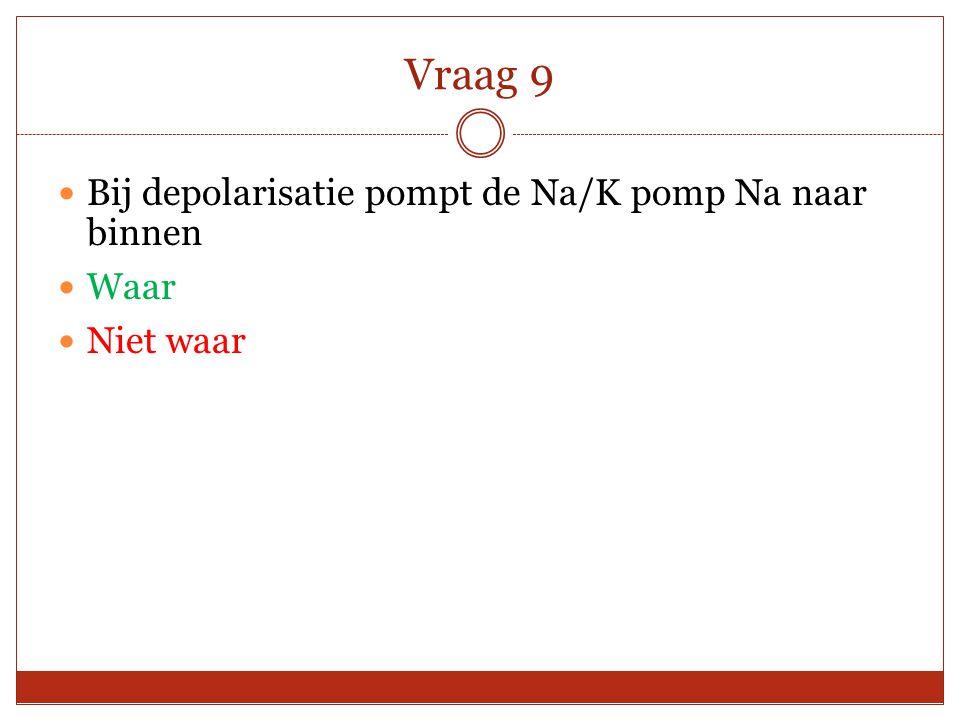 Vraag 9 Bij depolarisatie pompt de Na/K pomp Na naar binnen Waar