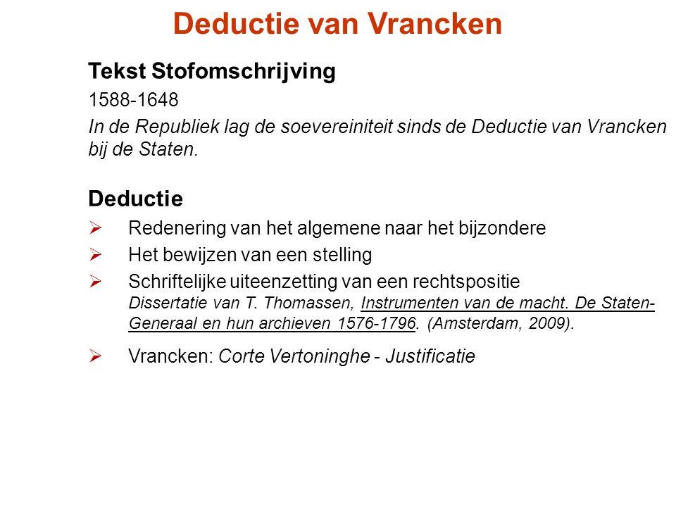 Deductie van Vrancken Tekst Stofomschrijving Deductie 1588-1648
