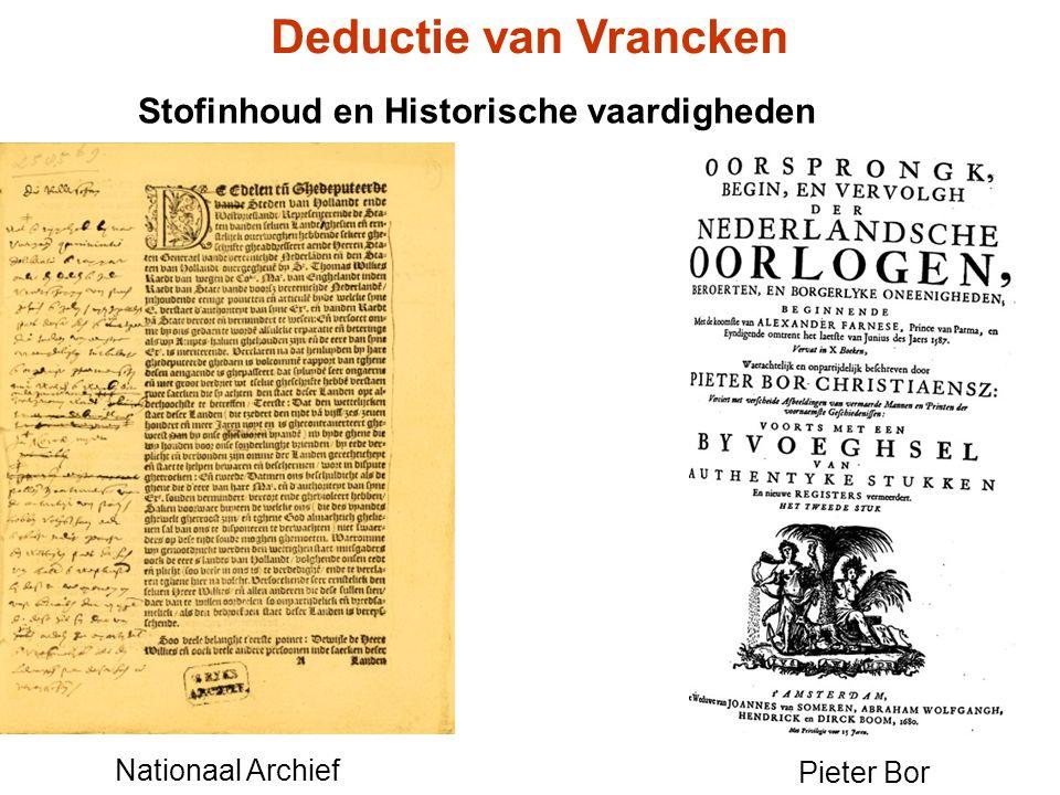 Deductie van Vrancken Stofinhoud en Historische vaardigheden