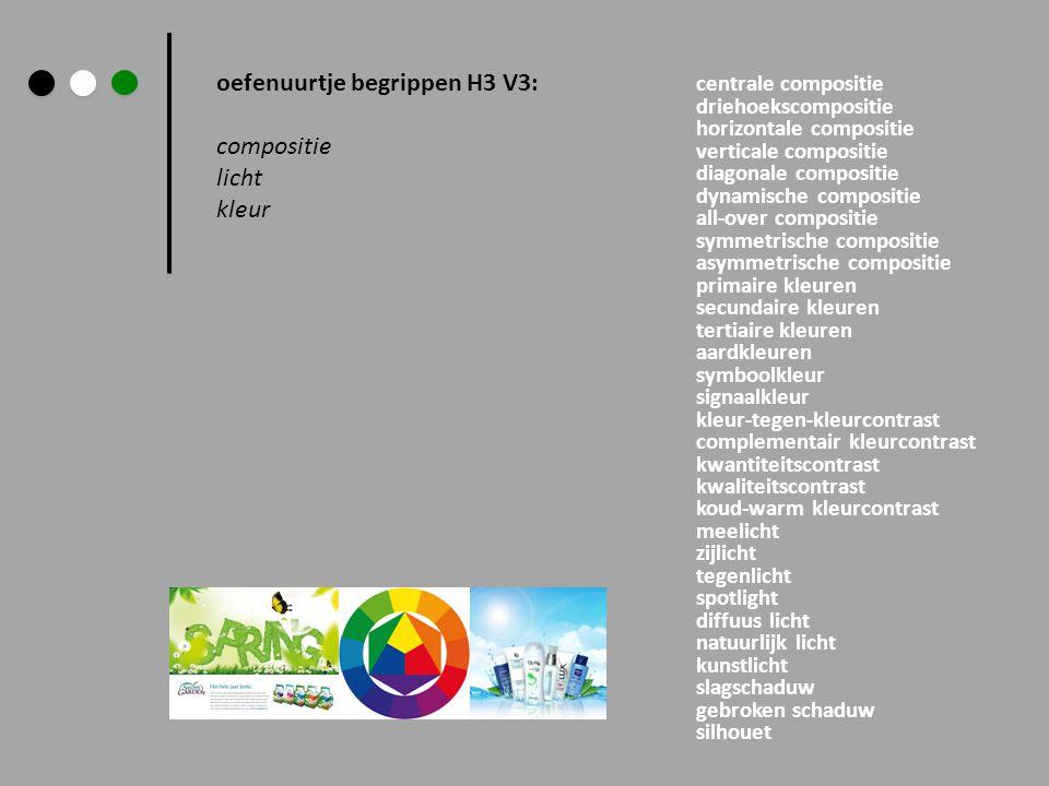 oefenuurtje begrippen H3 V3: compositie licht kleur