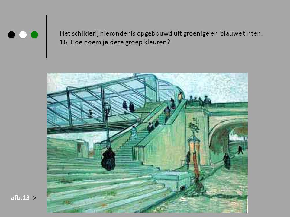 Het schilderij hieronder is opgebouwd uit groenige en blauwe tinten.