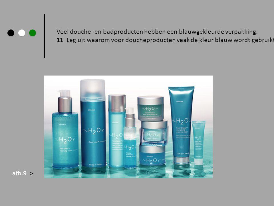 Veel douche- en badproducten hebben een blauwgekleurde verpakking.
