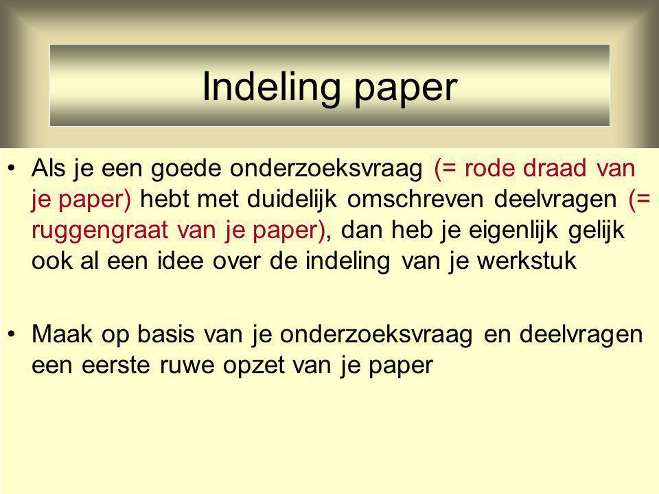Indeling paper