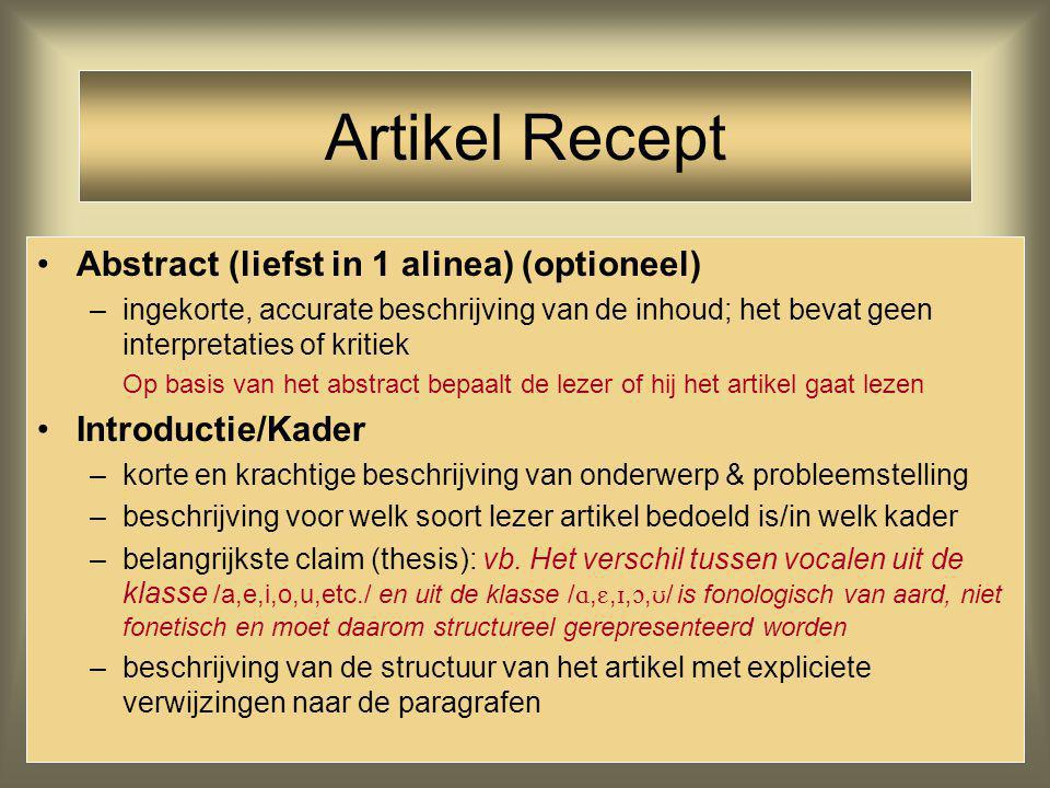 Artikel Recept Abstract (liefst in 1 alinea) (optioneel)