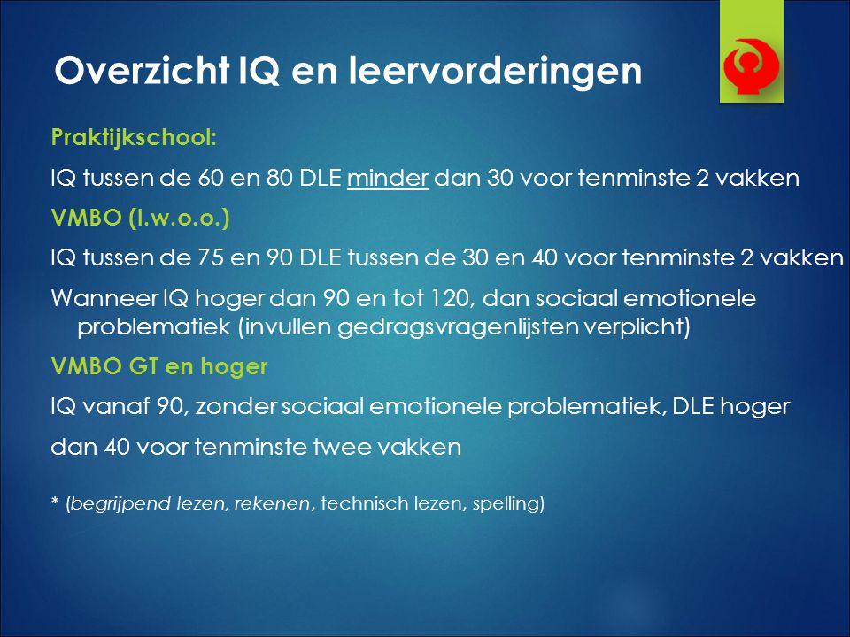 Overzicht IQ en leervorderingen