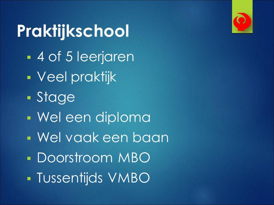 Praktijkschool 4 of 5 leerjaren Veel praktijk Stage Wel een diploma