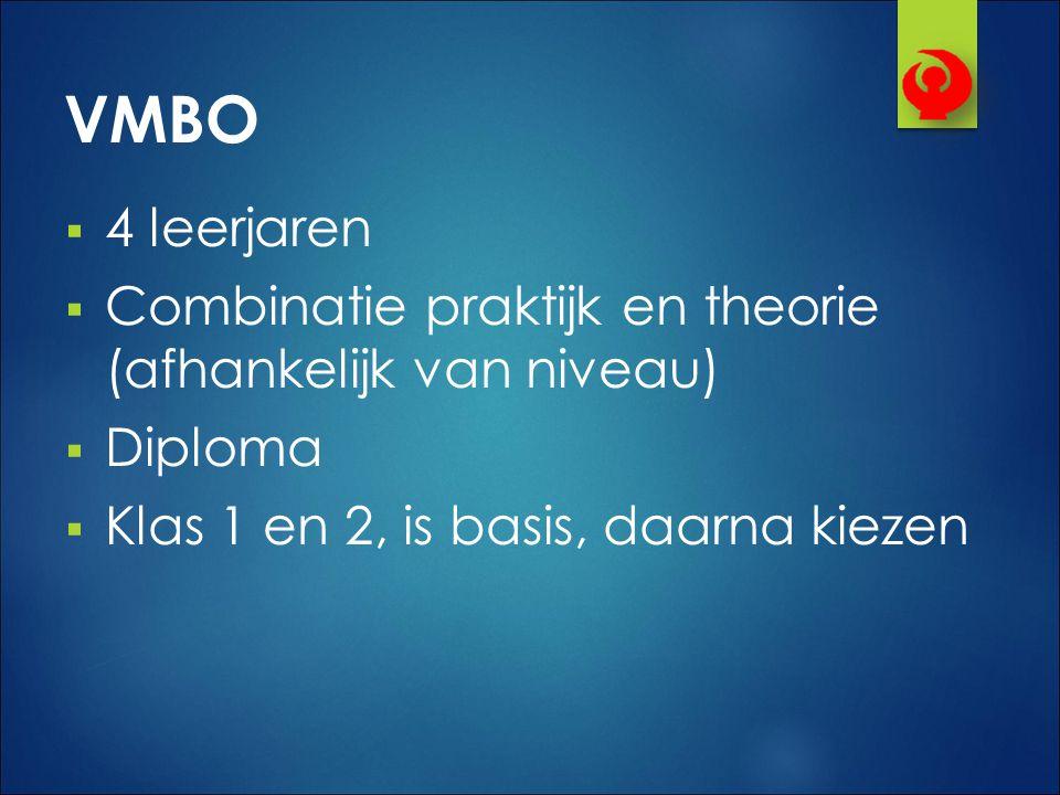 VMBO 4 leerjaren. Combinatie praktijk en theorie (afhankelijk van niveau) Diploma.