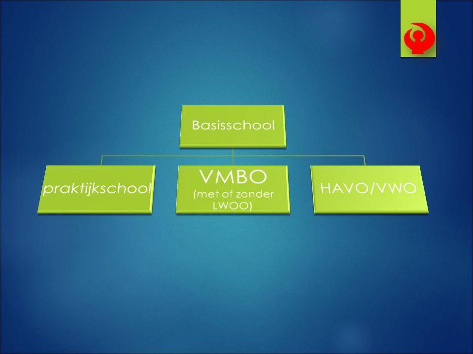 Basisschool praktijkschool VMBO (met of zonder LWOO) HAVO/VWO