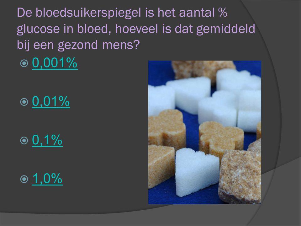 De bloedsuikerspiegel is het aantal % glucose in bloed, hoeveel is dat gemiddeld bij een gezond mens