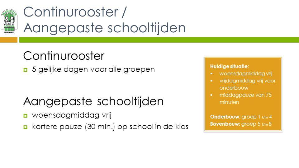 Continurooster / Aangepaste schooltijden
