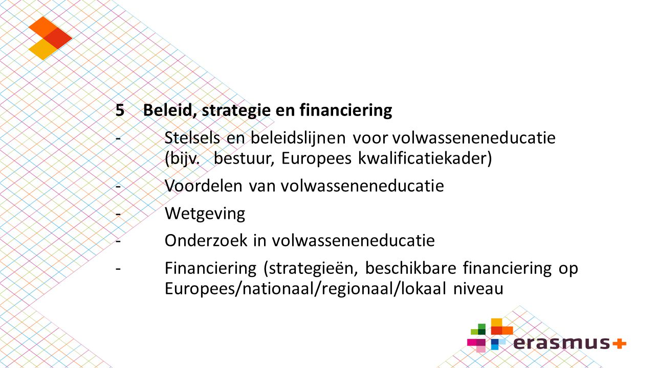 Beleid, strategie en financiering