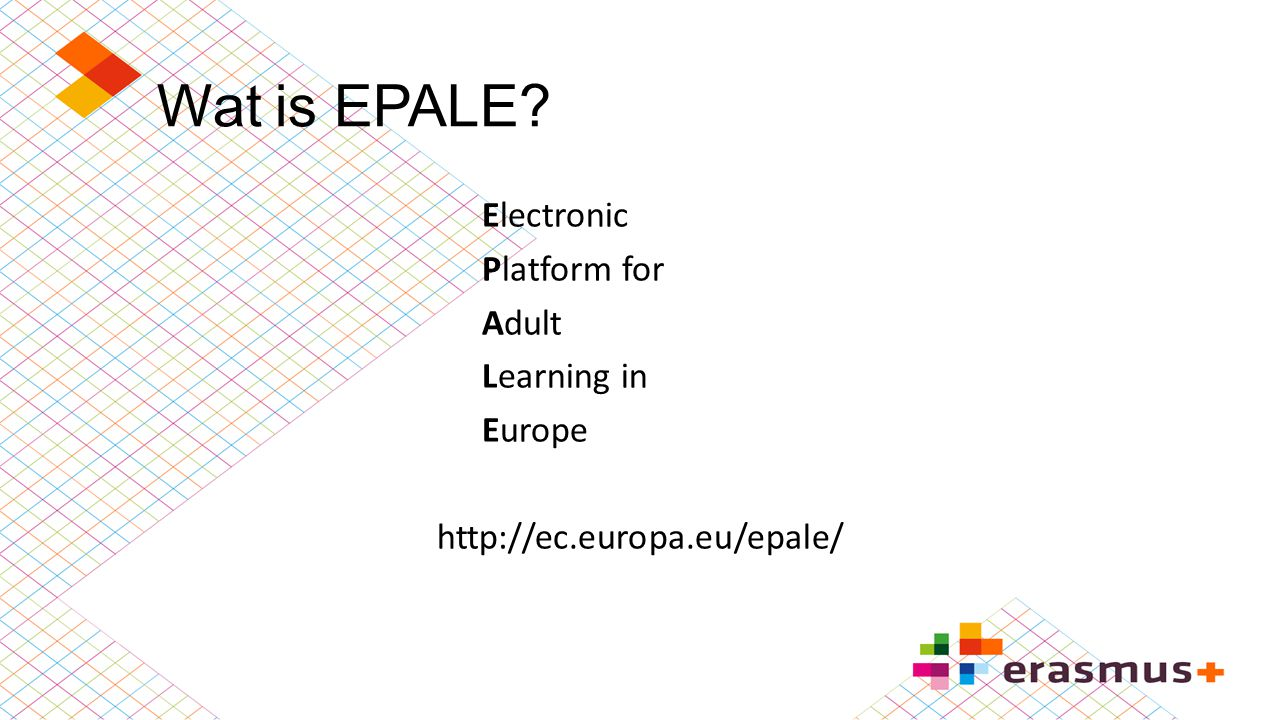 Wat is EPALE Electronic Platform for Adult Learning in Europe http://ec.europa.eu/epale/