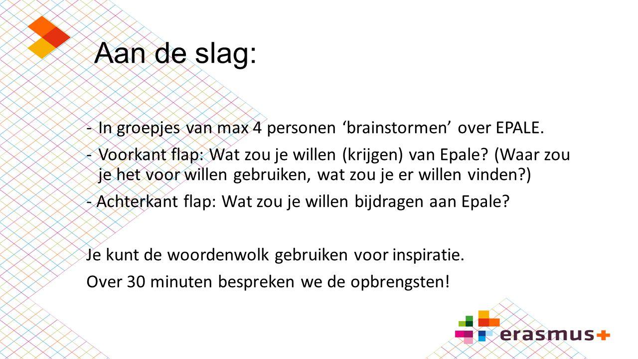 Aan de slag: In groepjes van max 4 personen 'brainstormen' over EPALE.
