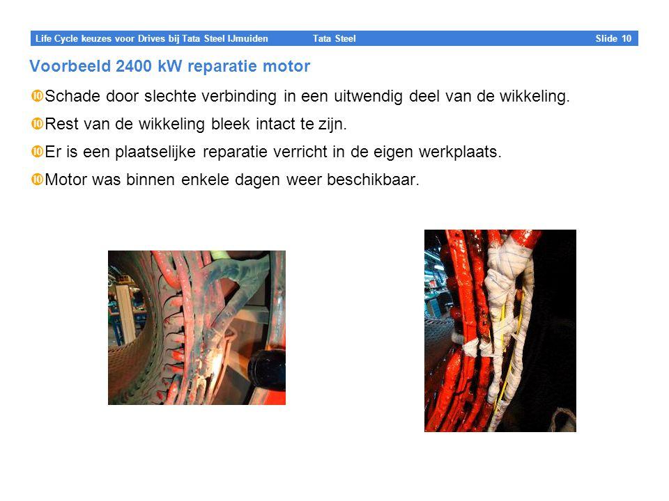 Voorbeeld 2400 kW reparatie motor