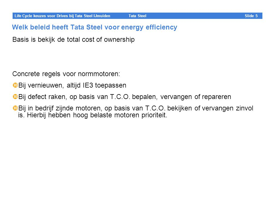 Welk beleid heeft Tata Steel voor energy efficiency