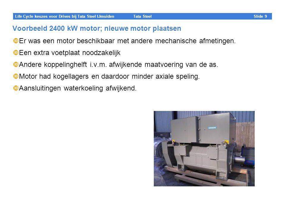 Voorbeeld 2400 kW motor; nieuwe motor plaatsen