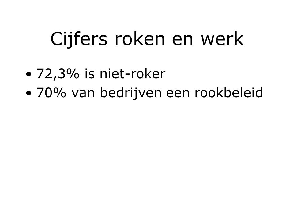Cijfers roken en werk 72,3% is niet-roker