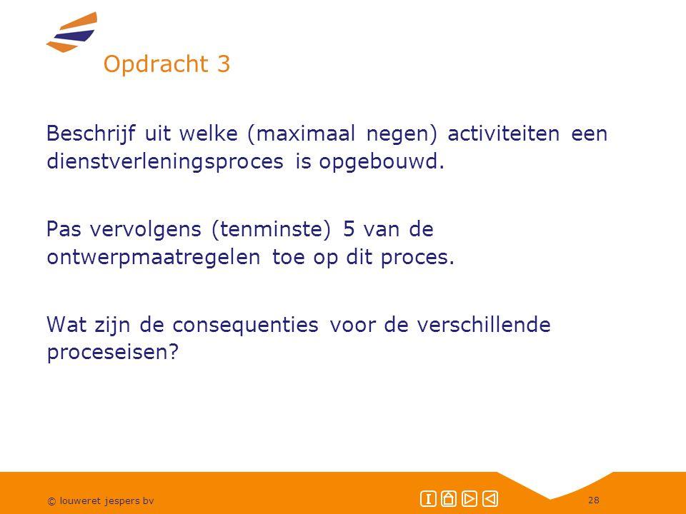Opdracht 3 Beschrijf uit welke (maximaal negen) activiteiten een dienstverleningsproces is opgebouwd.