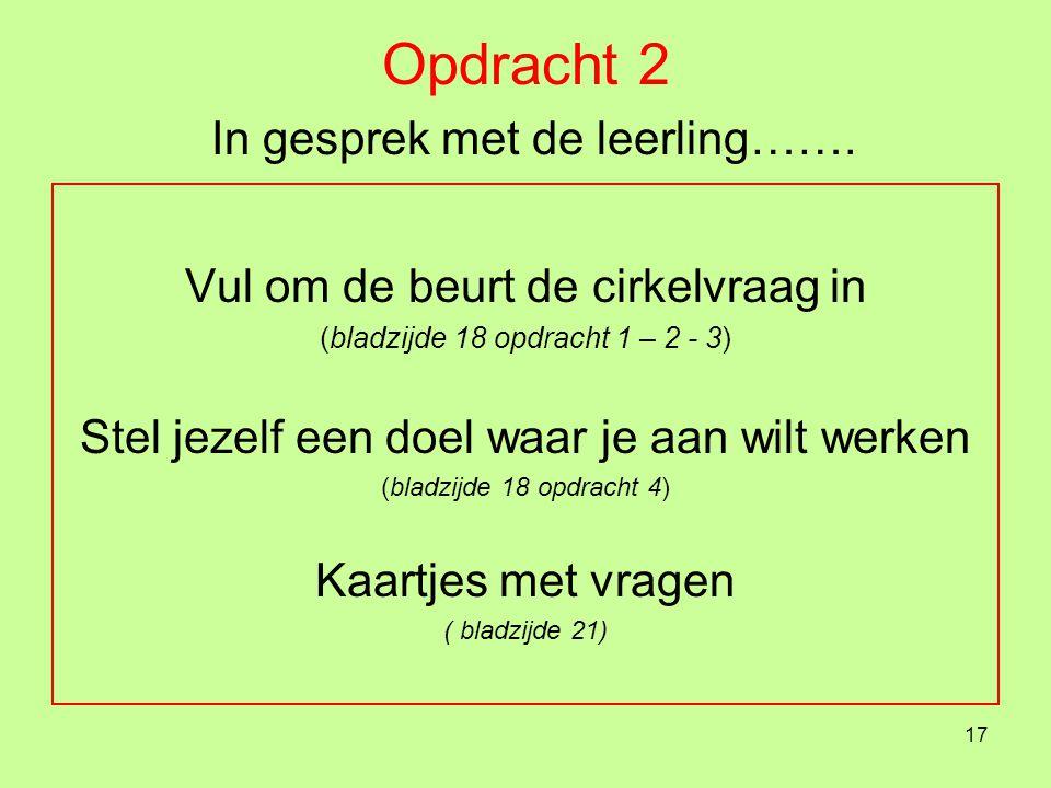 Opdracht 2 In gesprek met de leerling…….