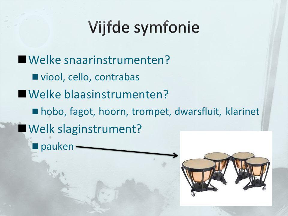 Vijfde symfonie Welke snaarinstrumenten Welke blaasinstrumenten