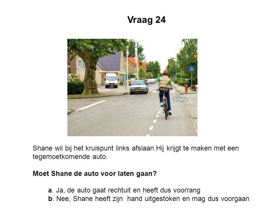 Vraag 24 Shane wil bij het kruispunt links afslaan.Hij krijgt te maken met een tegemoetkomende auto. Moet Shane de auto voor laten gaan