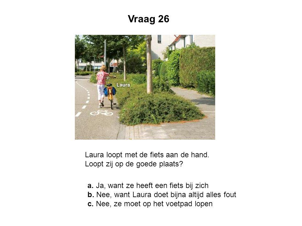 Vraag 26 Laura loopt met de fiets aan de hand. Loopt zij op de goede plaats a. Ja, want ze heeft een fiets bij zich.