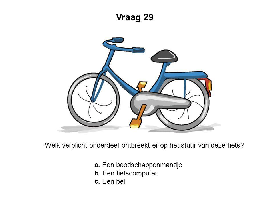 Vraag 29 Welk verplicht onderdeel ontbreekt er op het stuur van deze fiets a. Een boodschappenmandje.