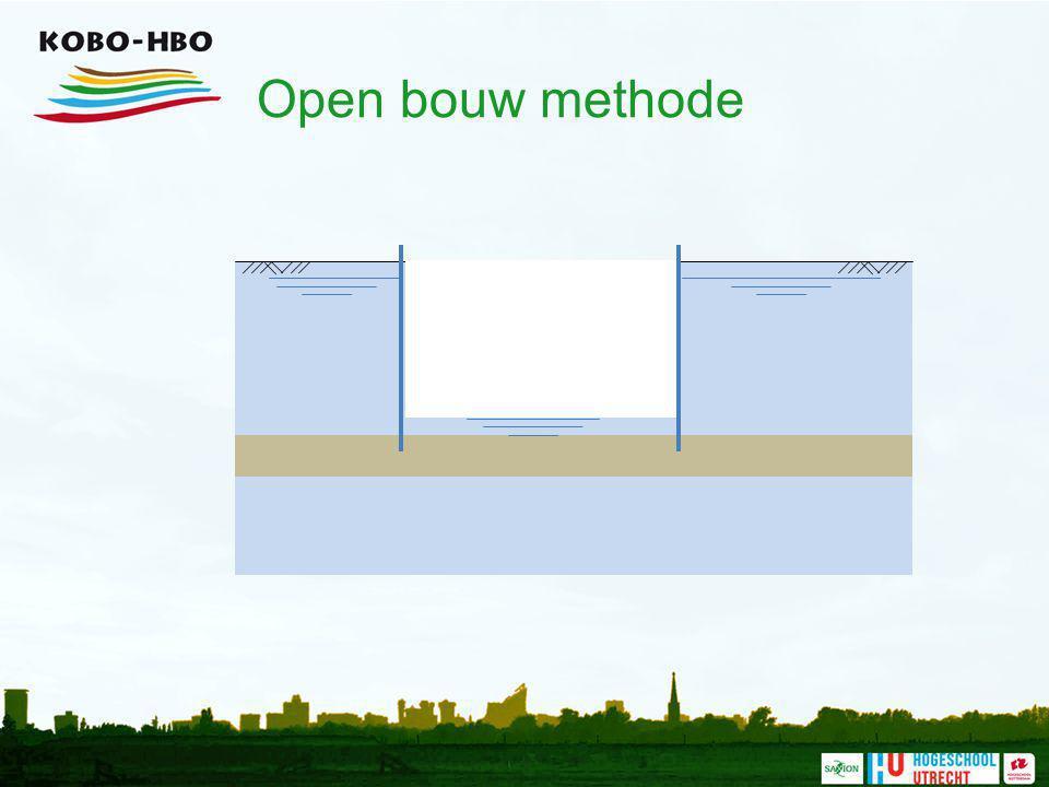 Open bouw methode Indien het mogelijk is wordt de bouwkuip droog gepompt.