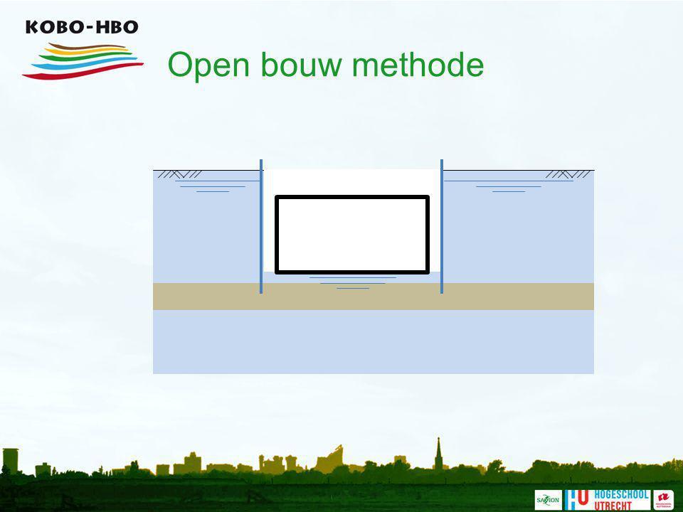 Open bouw methode In de droge bouwkuip kan de constructie (hier een tunnelelement) gerealiseerd worden.