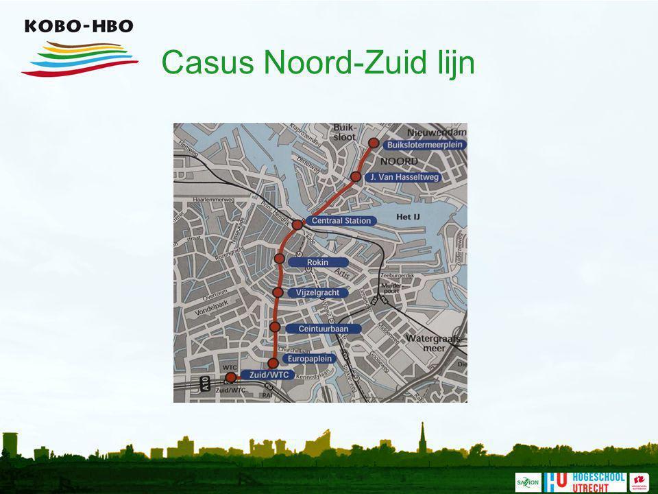Casus Noord-Zuid lijn In Amsterdam wordt een nieuwe metrolijn aangelegd: de Noord-Zuid lijn.