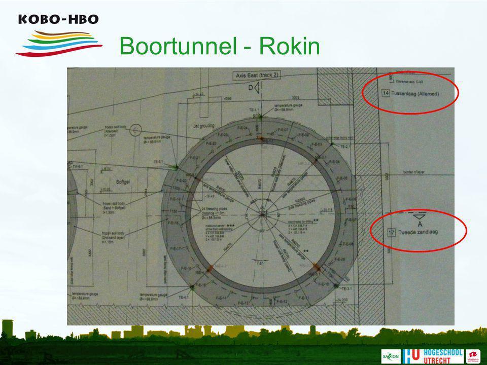 Boortunnel - Rokin Er wordt geboord in de tussenlaag en de tweede zandlaag.