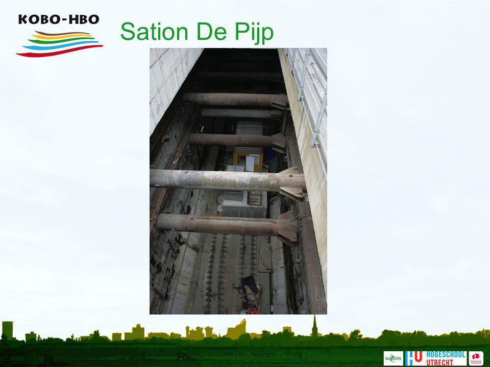 Sation De Pijp Een lang en smal station (er is weinig ruimte) met de stempels duidelijk zichtbaar.