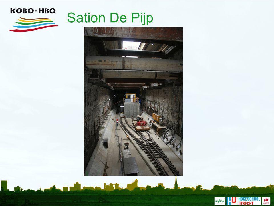 Sation De Pijp Een lang en smal station (er is weinig ruimte). Deze foto geeft een indruk van de diepte van het station.