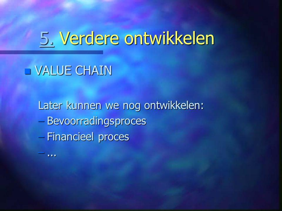 5. Verdere ontwikkelen VALUE CHAIN Later kunnen we nog ontwikkelen:
