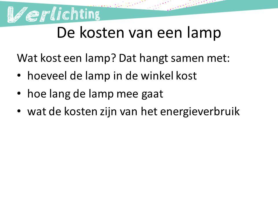 De kosten van een lamp Wat kost een lamp Dat hangt samen met: