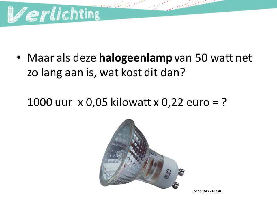 Maar als deze halogeenlamp van 50 watt net zo lang aan is, wat kost dit dan 1000 uur x 0,05 kilowatt x 0,22 euro =
