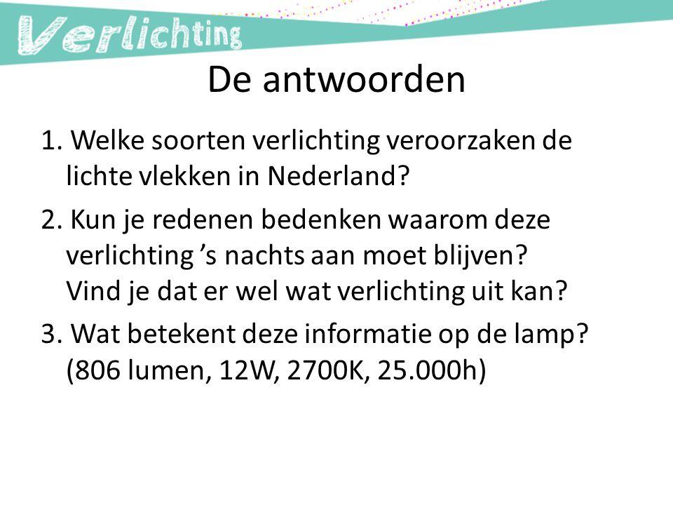 De antwoorden 1. Welke soorten verlichting veroorzaken de lichte vlekken in Nederland